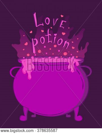 Magic Cauldron With Love Potion. Cute Pink Halloween Sticker For Your Design, Banner, Cover, Poster.