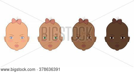 Caucasian, Afro And African American Baby Girls. Vector Illustration Of The Portrait Of Cute Kids.