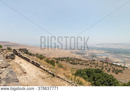 Afula, Israel, July 18, 2020 : View To The Jordan Valley From The Ruins Of The Great Hospitaller For