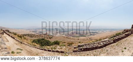 Afula, Israel, July 18, 2020 : Panoramic View To The Jordan Valley From The Ruins Of The Great Hospi