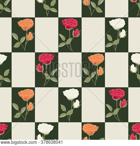 Vector Roses Flowers In Red Orange White In Green Beige Squares Seamless Repeat Pattern. Background