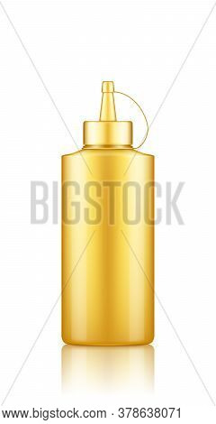 Gold Plastic Squeeze Mustard Bottle With Cap Mockup