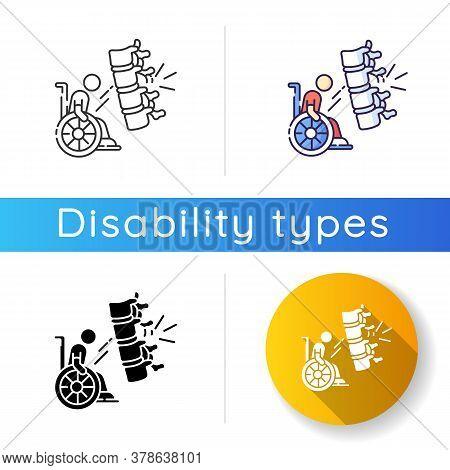 Spine Injury Icon. Fractured Vertebrae. Handicapped Patient In Wheelchair. Health Problem. Paralysis