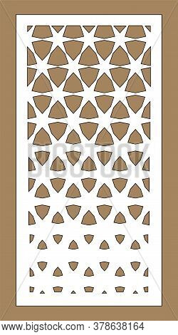 Arabesque Vector Gradient Panel. Laser Cutting. Template For Interior Partition In Arabic Style. Las