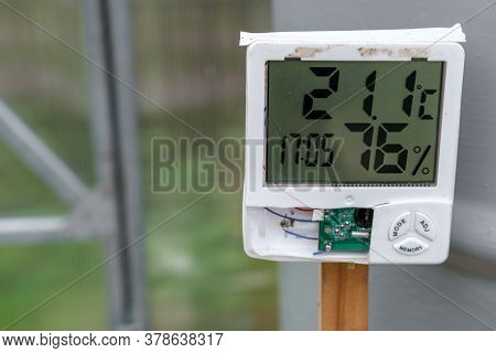 Thermometer And Hygrometer In The Greenhouse To Control Temperature And Humidity.