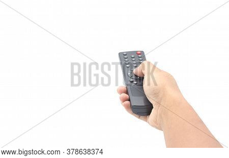 Hand Pressing Remote Control Isolated On White Background With Clipping Path