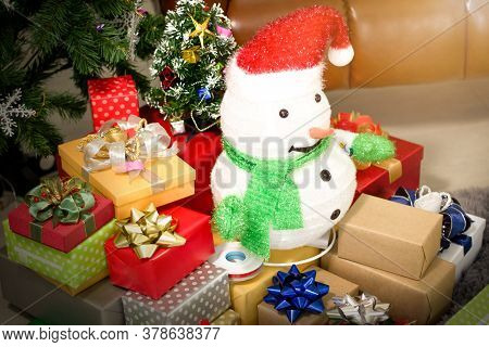 Snowman On The Gift Box On Christmas,happy New Year