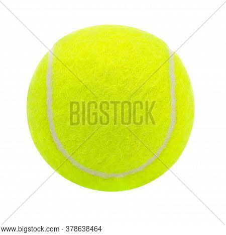 Tennis Ball Isolated On White Background With Clipping Path,closeup