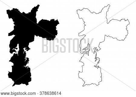 Sao Paulo City (federative Republic Of Brazil, Sao Paulo State) Map Vector Illustration, Scribble Sk