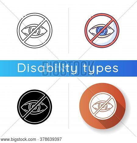 Blindness Icon. Patient With Lost Eyesight. Legally Blind. Vision Impairment. Eye Defect. Health Car