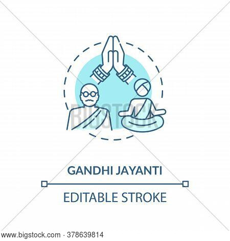 Gandhi Jayanti Concept Icon. Indian Holiday, Mahatma Gandhi Commemoration Idea Thin Line Illustratio