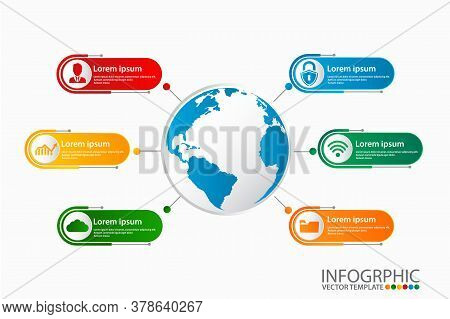 Business Infographic Template With 6 Option Can Be Used For Workflow Layout, Diagram, Number Options