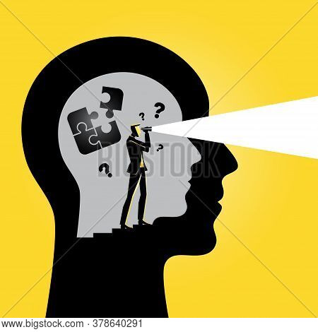 An Illustration Of Visual Representation Of Intuition, Puzzle On Brain