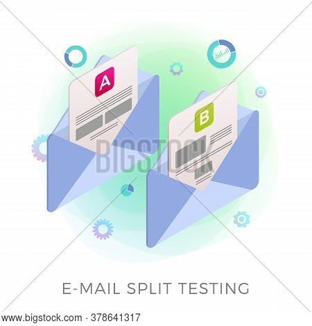 Email Split Test Flat Isometric Vector Icon Concept. Two Promotional Mails With A Different Web Deve