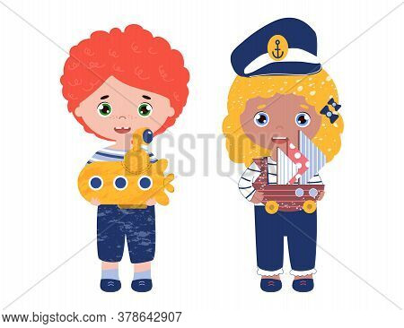 Bright Colored Vector With Kids Play Together. Happy Children With Submarine Toy And A Ship. Girl In