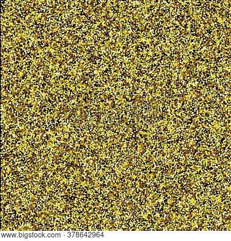 Gold Glitter Texture Isolated On Wide Black Transparent Background, Vector Illustration. Confetti Pa