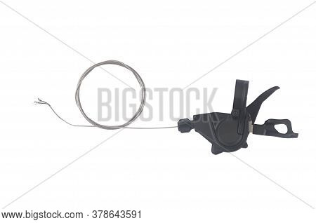 Top View Of Shift Lever With Cable For Bikes. Bike Equipment Isolated On White Background