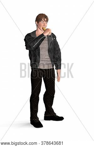 Portrait Of A Man Eating A Hot Dog - Young Man In Leather Stands And Eats A Hot Dog - Isolated On Wh