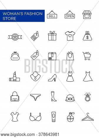 A Collection Of Icons Related To Women's Fashion Stores. Clothing Icons, Dresses, Cosmetics, And Sho