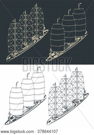 Large Modern Sailing Ship Isometric Drawings