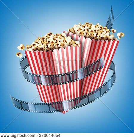 Movie Theater Flyer With Film Strip And Popcorn In Striped Paper Boxes. Vector Realistic Illustratio