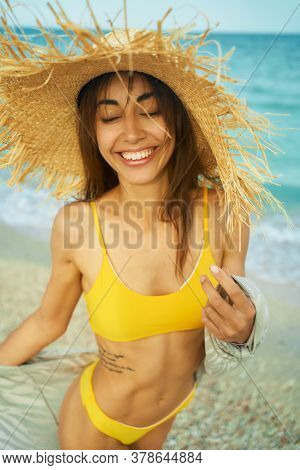 Summer Lifestyle Portrait Of Pretty Young Woman On Tropical Sand Beach