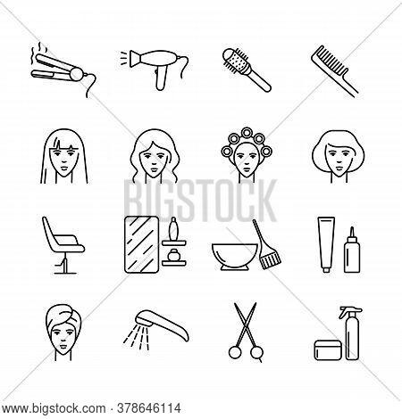 Hair Salon Vector Icons Set. Icons Haircut, Perm, Coloring, Washing, Straightening Hair. Hair Care.