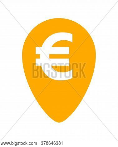 Euro Currency Symbol In Orange Pin Point For Icon Isolated On White, Euro Money For App Icon, Financ