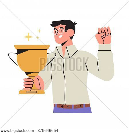 Happy Man Holds Gold Champion Cup Isolated On White Background In Flat Cartoon Style. Businessman Or
