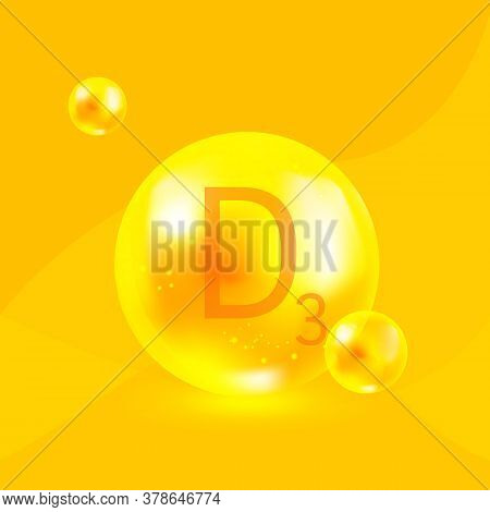 Vitamin D3, Cholecalciferol Complex, Golden Yellow Shing Capsule. Vector.