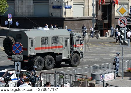 Moscow, Russia - June 24, 2020: Car Kamaz Of The Russian Guard Goes On Okhotny Ryad In Moscow