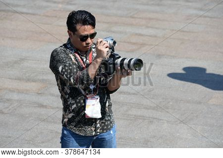 Moscow, Russia - June 24, 2020:a Foreign Journalist Takes Photos During A Military Parade In Moscow