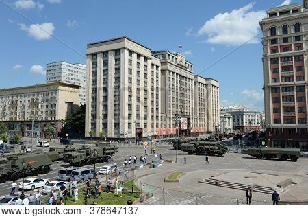 Moscow, Russia - June 24, 2020:military Equipment On Okhotny Ryad During The Parade Dedicated To The