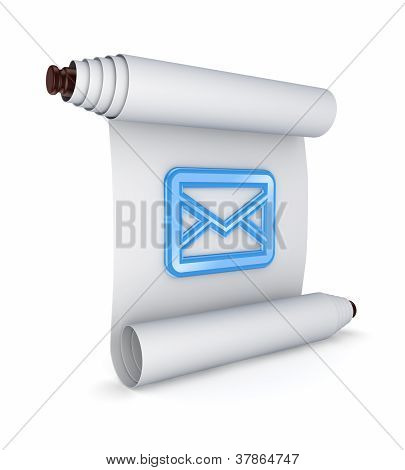 Blue envelope icon on ancient scroll.