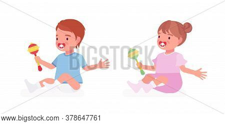 Toddler Child, Little Boy, Girl Playing With Rattle Toy. Cute Sweet Happy Healthy Baby, Children Age