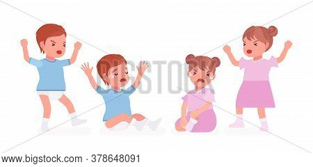 Toddler Child, Little Boy, Girl Expressing Bad Emotions, Crying In Tears. Cute Sweet Sad Healthy Bab
