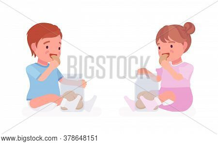 Toddler Child, Little Boy And Girl Eating Cookies From Jar. Cute Sweet Happy Healthy Baby, Children