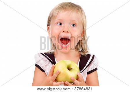 Toodler Girl Eating An Apple Isolated Over White
