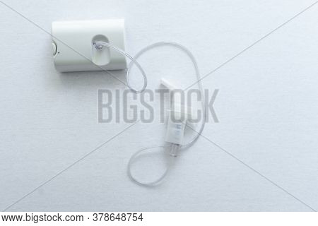 Top View Of Nebulizer For Asthma Treatment On White Background