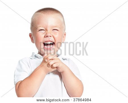 Admiring  Little Boy Laughing Isolated Over White