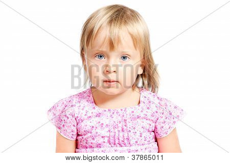 Portrait Of Beautiful Little Girl 3-4 Years Old Isolated Over White