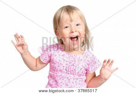 Amazed Little Girl Laugting Ang Singing Expressively Isolated Over White