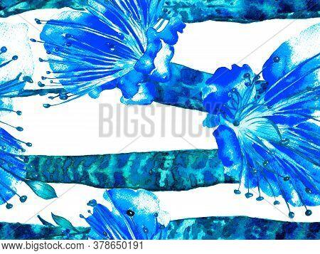 Classic Blue And Indigo Summer Floral Background. Botanical Forest Illustration. Vintage Eco Rapport