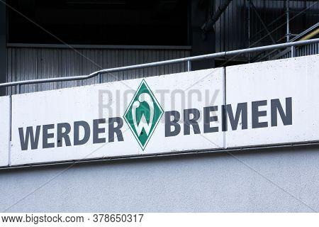 Bremen, Germany - July 22, 2018: Werder Bremen Sign On A Wall At The Weser Stadium. Werder Bremen Is