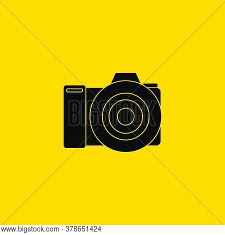 Black Icon Of Dslr Camera Vector Illustration. Perfect Template For Photography Design