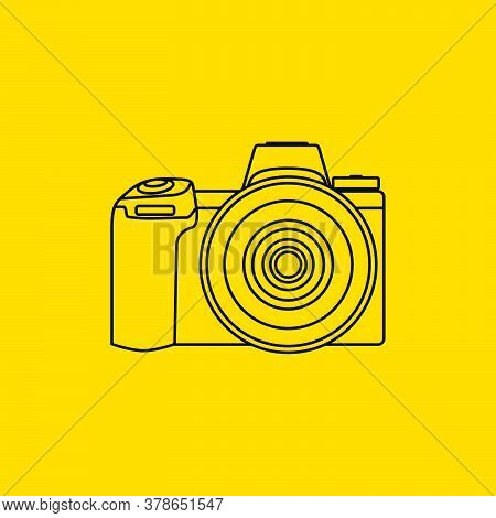 Line Art Of Dslr Camera Vector Illustration. Perfect Template For Photography Design