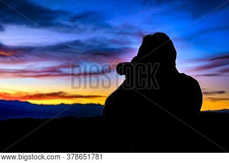 Man Taking Photos At Sunset, San Juan Province, Argentina