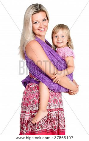 Happy Mother With Little Girl In Sling Isolated On White Background