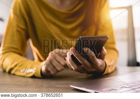 Women Hands Holding Mobile Phone With Blank Screen And Credit Card On Office Desk And Using Mobile P