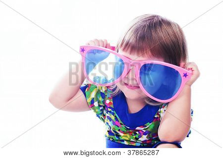 3 Years Old Funny Girl Wearing Colorful Glasses Isolated Over White